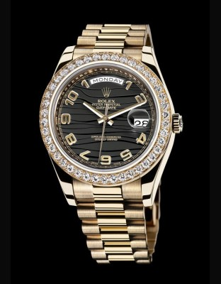 Rolex Oyster Perpetual Day-Date II Baguette-cut Diamonds Bezel Replica Watch