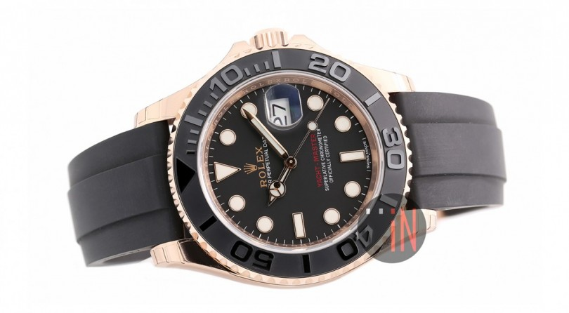 rolex yachtmaster rose gold rubber strap replica watch