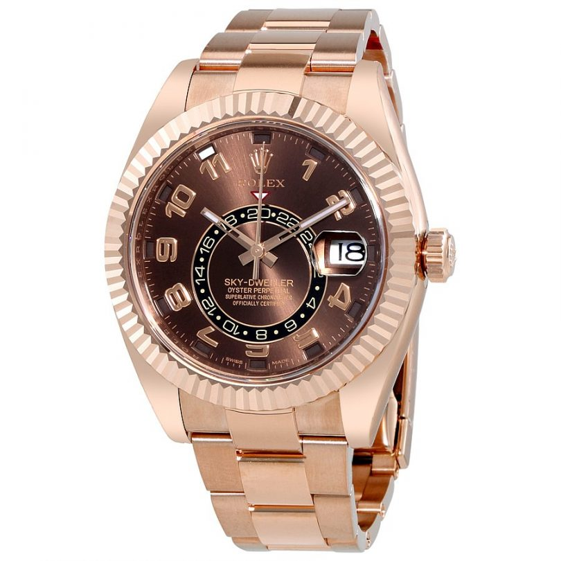 d1f17132477 Replica Buying Guide Rolex Sky Dweller Chocolate Dial 18K Everose Gold  Oyster Bracelet Automatic Men s Watch Item No. 326935CHAO