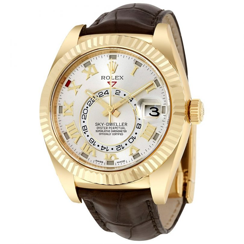 Rolex Sky Dweller Silver Dial 18kt Yellow Gold Brown Leather Men's Watch 326138